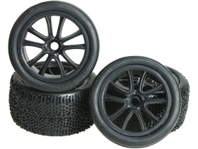Tamiya DT02 1/10 Buggy 5 Spoke Tyre and Rim Set - Black - 3RACING WH-21/BL