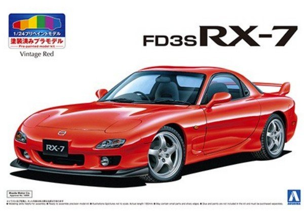 Aoshima 05497 - 1/24 Mazda FD3S RX-7 1999 (Vintage Red) Pre Painted Model SP