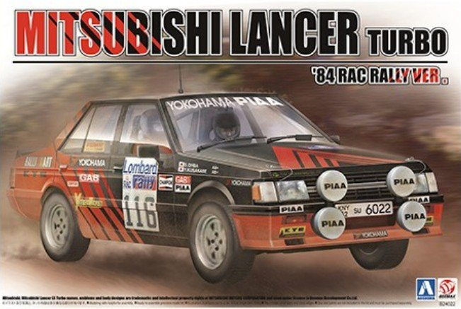 Aoshima 10608 - 1/24 Mitsubishi Lancer Turbo 1984 Rac Rally Version Beemax No.25