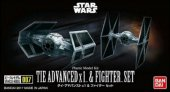 Bandai 214502 - Star Wars Tie Advanced x1 & Fighter Set Vehicle Model 007