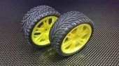 Tamiya TB04 Nylon Wheels (6 Poles) With Rubber Tires & Insert - 1pr set - GPM TB4889+968FR