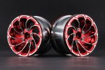Aluminum 2.2'' 10-Spokes Cyclone Style Wheels - Red