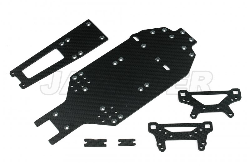 Carbon TA02 Lower & Upper Deck, Front & Rear Damper Stay Set For 47396 TA02 FRP Chassis Conversion Set
