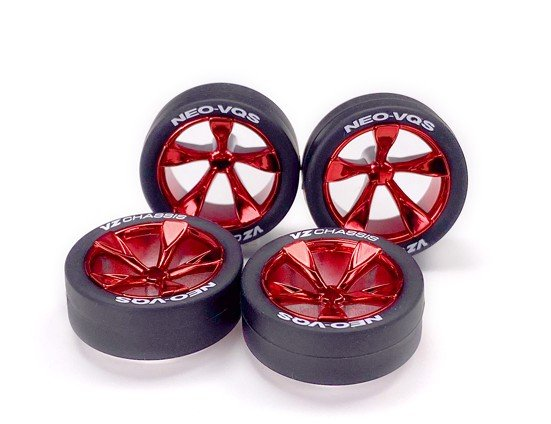 Tamiya #95592 - Super Super Low-Profile Tire & Red Plated 5-Spoke Wheel Set (Neo VQS) Mini 4WD Japan Cup 2020 Limited