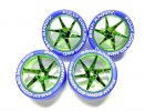 Tamiya #95504 - Fully Cowled Mini 4WD 25th Anniversary Blue Tires & Green Plated Wheels