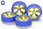 Tamiya #95098 - Blue Tires with Gold Plated A-Spoke Wheels 35th Anniversary