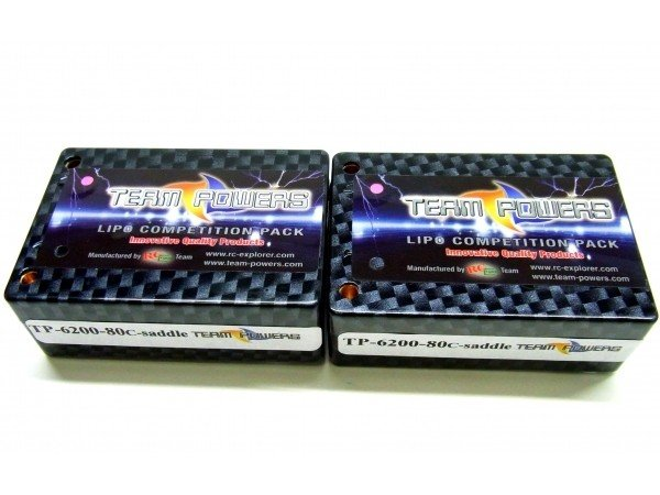 TEAMPOWERS 7.4V 6200mAh 80C Saddle Pack LiPo battery (TP-6200-80C-2S-SD)